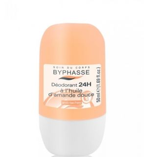 BYPHASSE 24H DEO ROLL ON SWEET ALMOND OIL 50ML FOR WOMEN