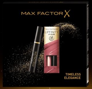 RIMMEL GIFT SET MAX FACTOR 2000 CALORIE MASCARA + LIPSTICK LIPFINITY 24H #020 Angelic