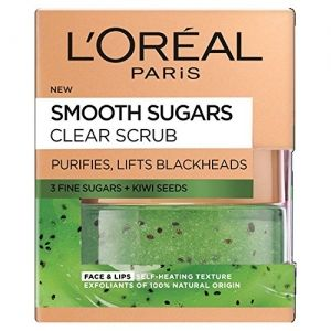 ИЗГЛАЖДАЩ СКРАБ С КИВИ LOREAL SMOOTH SUGARS CLEAR FACE & LIPS SCRUB FOR ALL SKIN TYPES 50ml