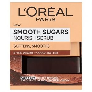 ПОДХРАНВАЩ СКРАБ С КАКАО LOREAL SMOOTH SUGARS NOURISH CACAO FACE & LIPS SCRUB FOR ALL SKIN TYPES 50ml